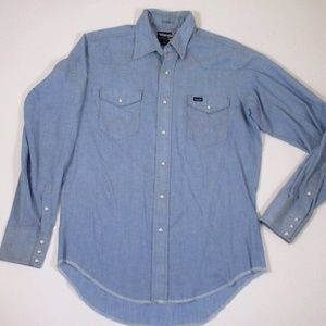 Vtg Wrangle Men L Blue Chambray Western Shirt Flaw